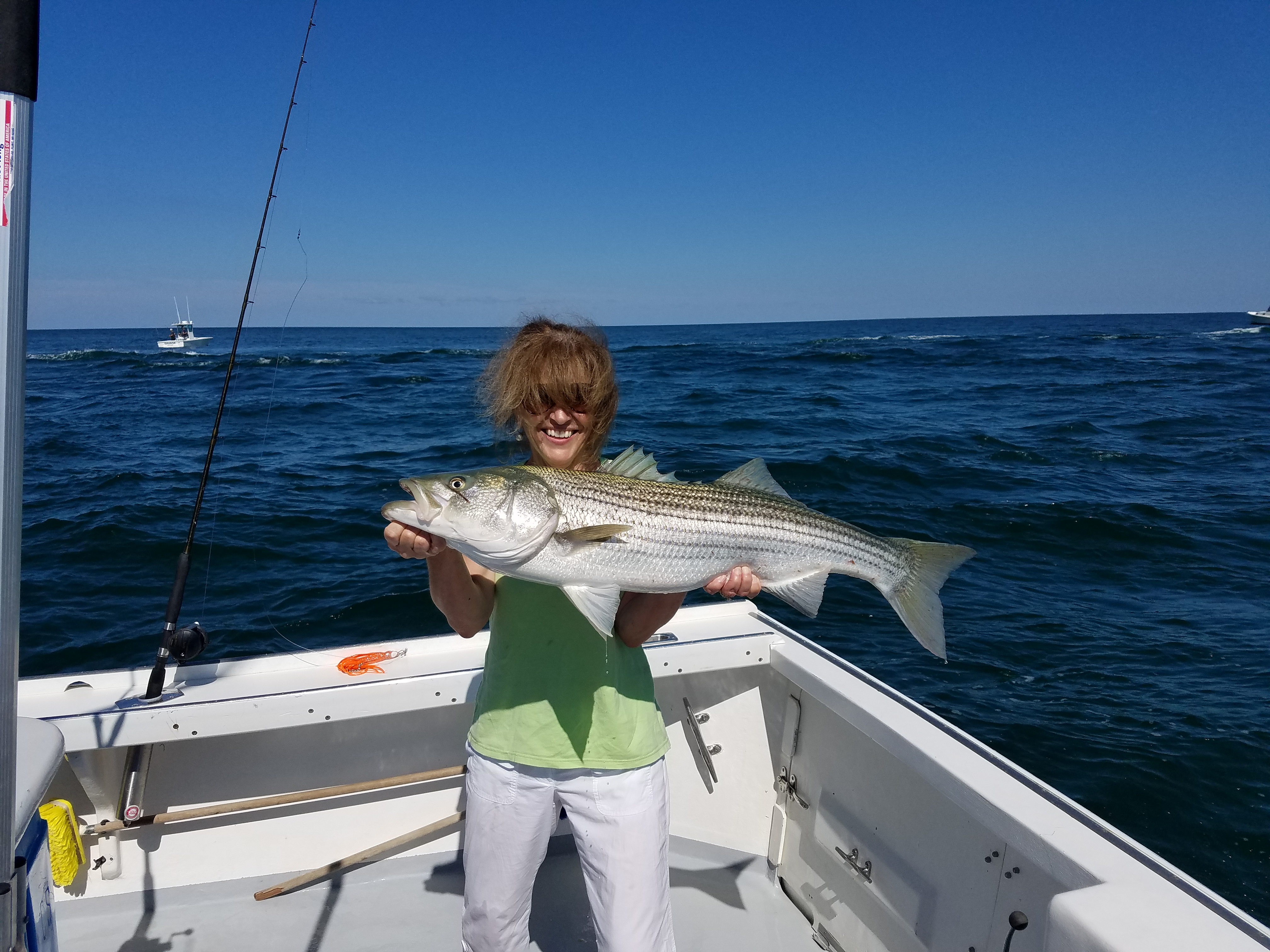 Women Striped Bass Fishing Charter Cape Cod, MA